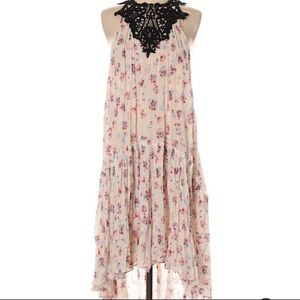 ZARA Floral Crochet Halter Midi Dress Size Small